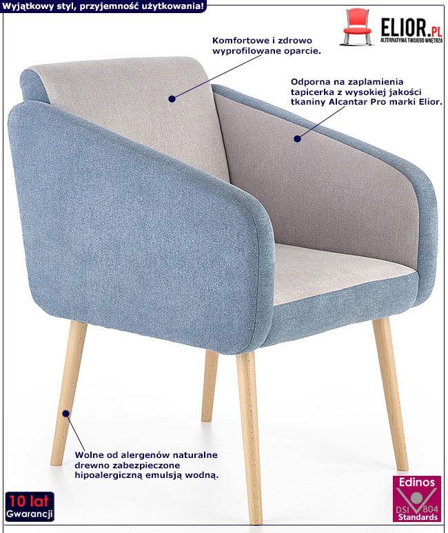 Niebieski fotel wypoczynkowy do czytania Levin