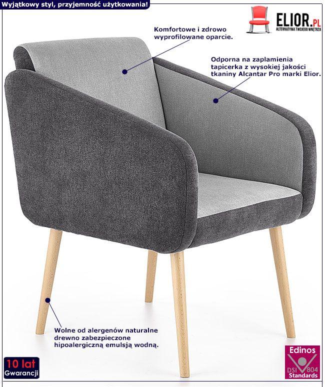 Szary fotel tapicerowany do oglądania tv Levin