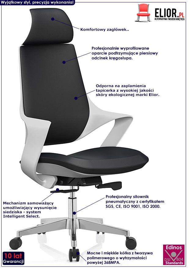 Czarny fotel obrotowy z wysuwanym siedziskiem Polix