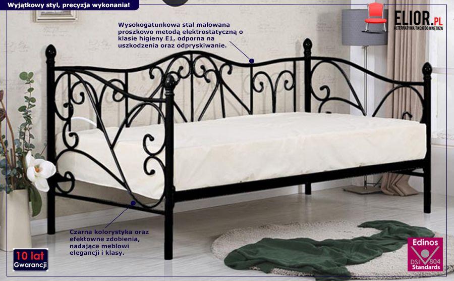 Stylowe łóżko Dolie - czarne