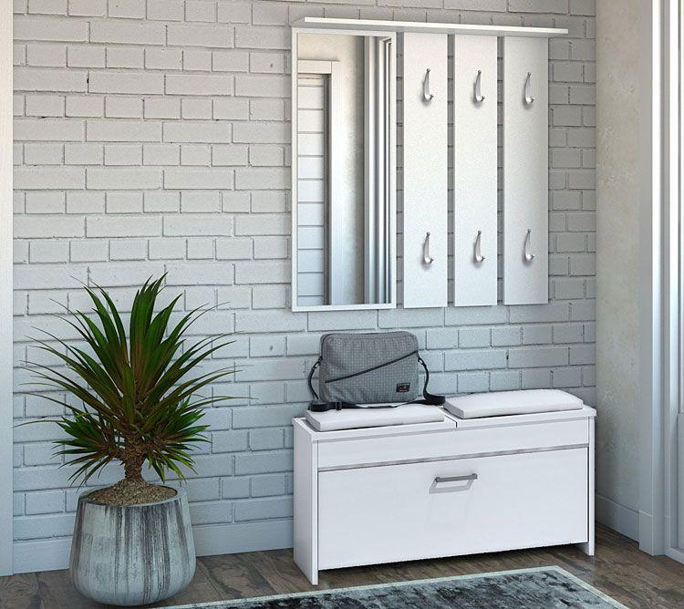 Biała garderoba z wieszakiem na korytarz Avila