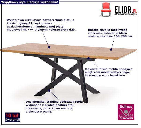 Designerski stół Fabier - złoty dąb