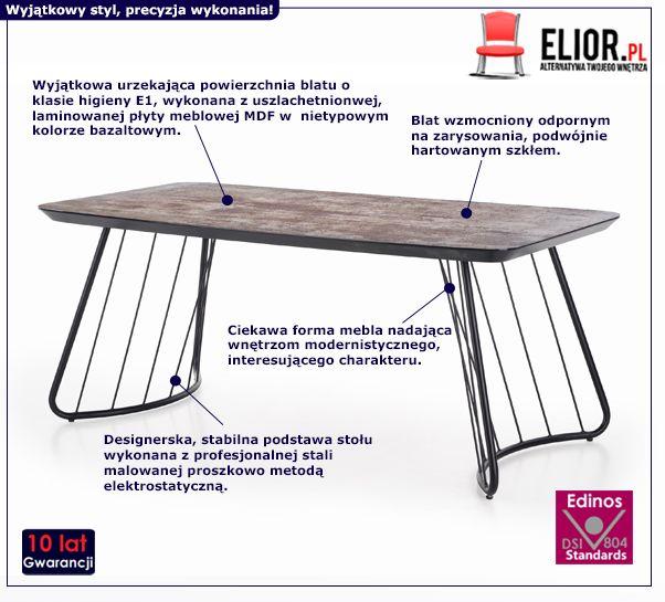 Modny stół Farel - industrialny