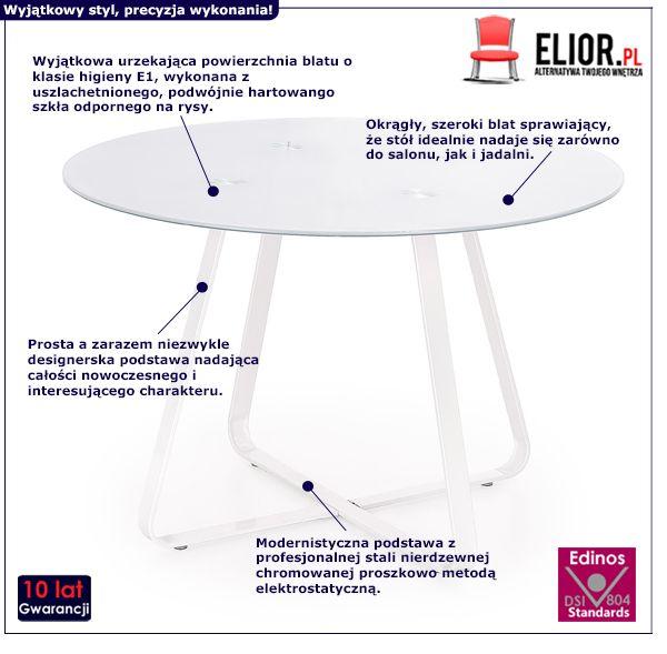 Szklany stół Vinto - biały
