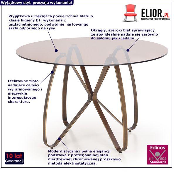 Elegancki stół Alesi - złoto antyczne