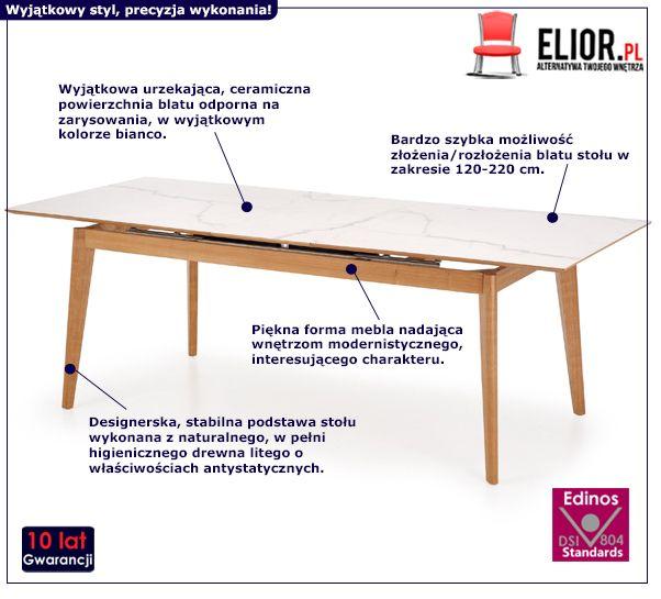 Skandynawski stół Bello - bianco i jesion
