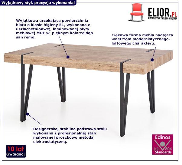 Loftowy stół Lofter - dąb san remo