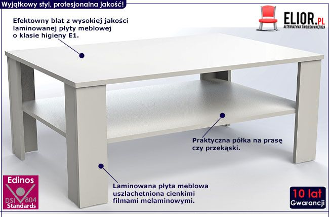 Biała ława w minimalistycznym stylu Livia 4X