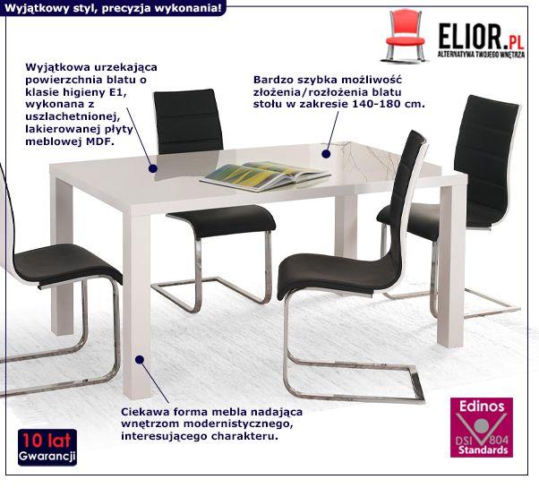 Rozkładany stół Mensis - biały