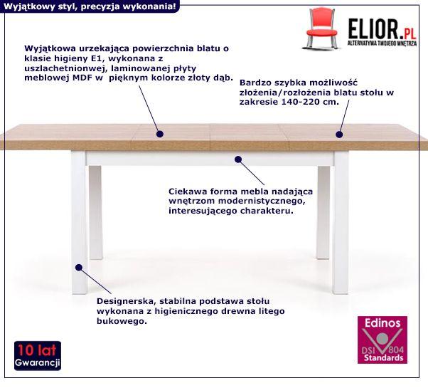 Skandynawski stół rozkładany Selen - dąb sonoma
