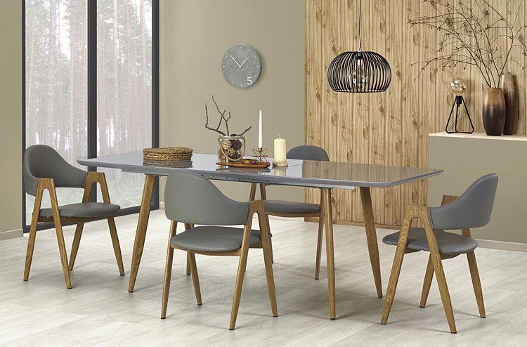 Popielate krzesło tapicerowane do kuchni, salonu Ebris sklep Edinos.pl