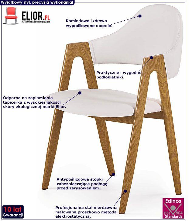 Minimalistyczne białe krzesło kuchenne Ebris
