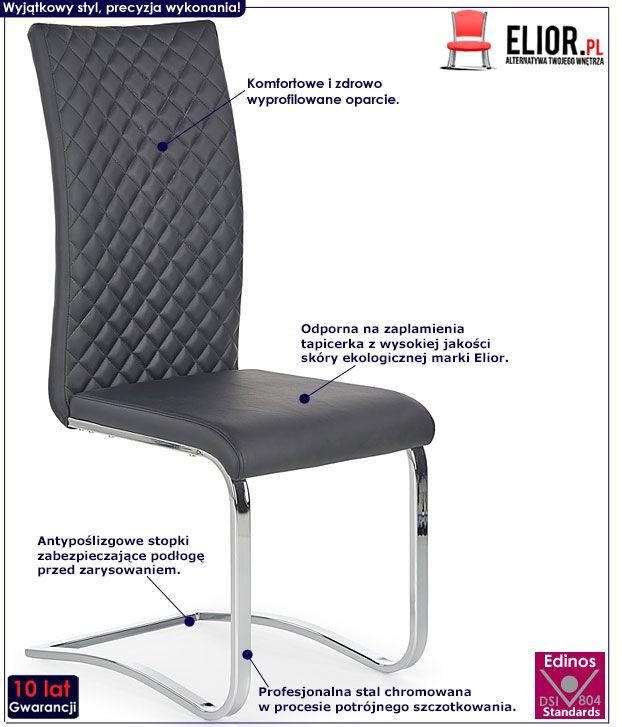 Czarne krzesło pikowane do stołu Norter