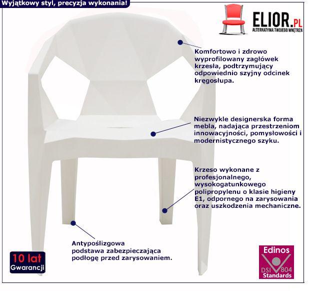 Nowoczesne krzesło Jaksen - białe
