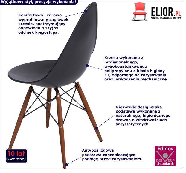 Modne krzesło Todi - czarne