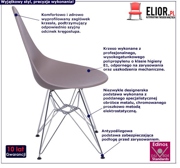 Modernistyczne krzesło Todi - szare