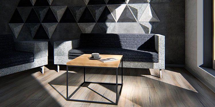 Kwadratowy stolik kawowy w industrialnym stylu Ivens 2X