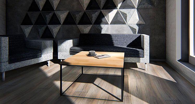 Kwadratowy stolik w industrialnym stylu do loftu Ivens 3X