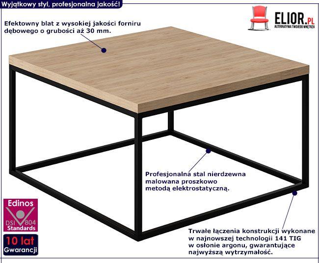 Loftowy stolik kawowy kwadrat dąb europejski Ivens 3X