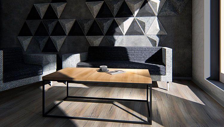 Loftowy stolik dąb europejski do salonu Ivens 4X