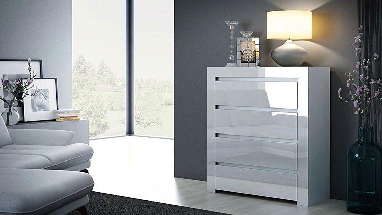 Lakierowana biała komoda do biura, sypialni Lorena 3X