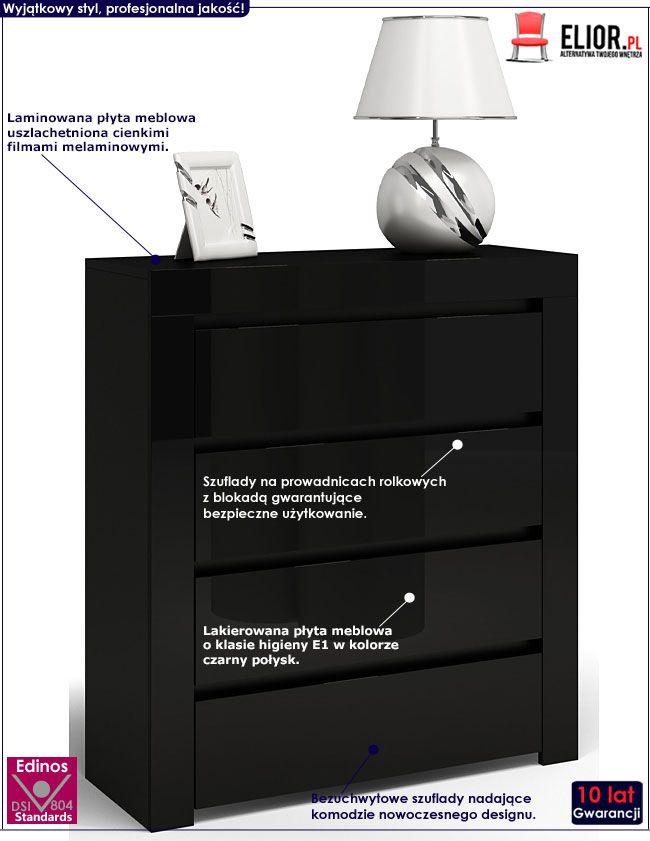 Lakierowana czarna komoda z 4 szufladami Lorena 3X