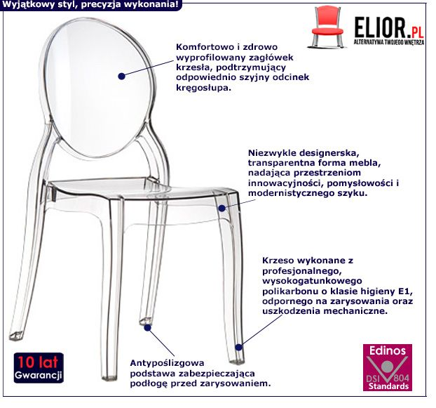 Stylowe krzesło Lauren - transparentne