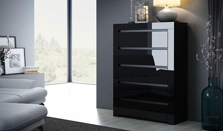 Lakierowana czarna komoda z 5 szufladami Lorena 4X