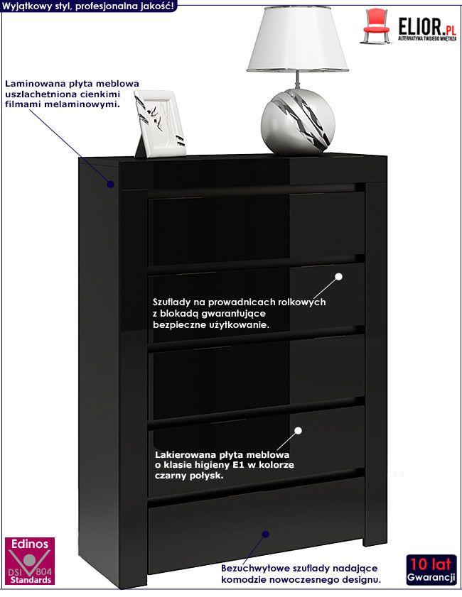 Czarna komoda do salonu wysoki połysk Lorena 4X