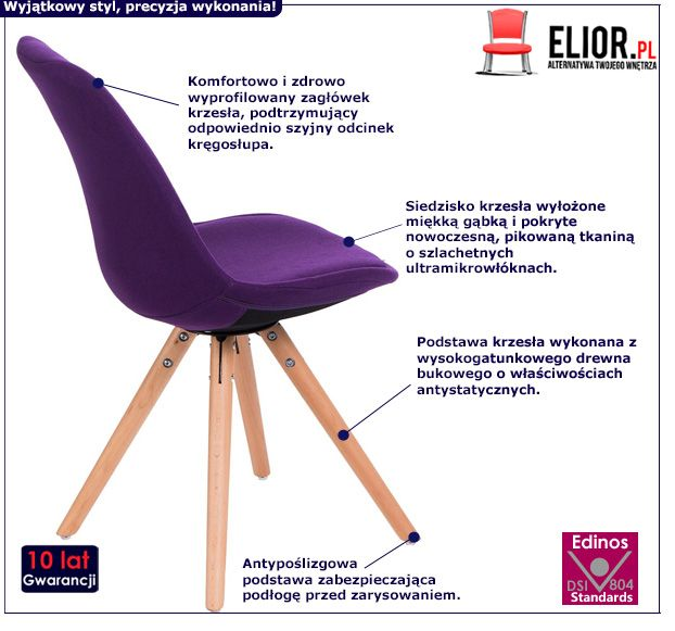 Stylowe krzesło Merio - fioletowe