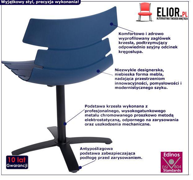 Designerskie krzesło Ineo - niebieskie
