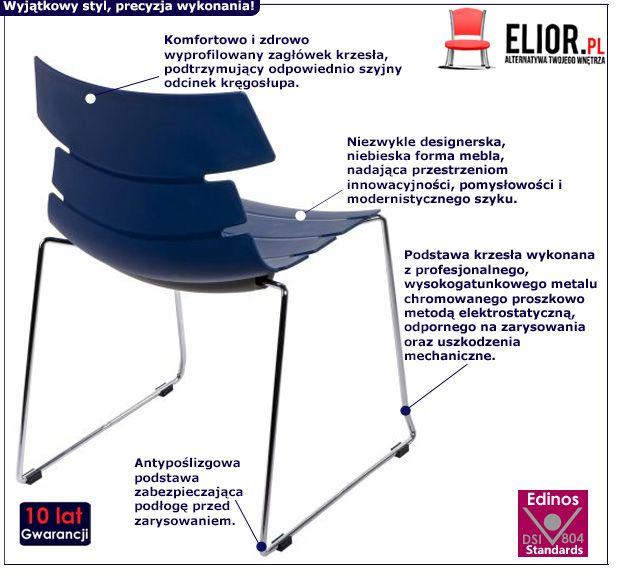 Modne krzesło Ineo 2X - niebieskie