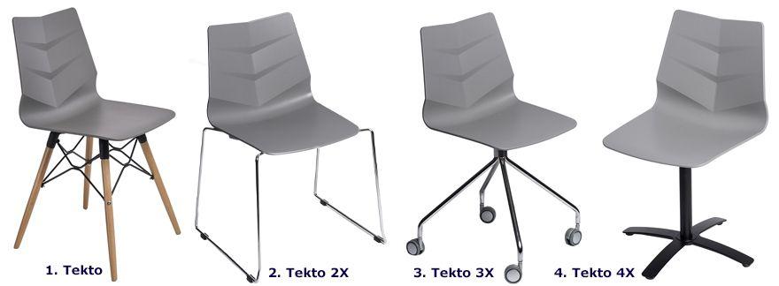 Nowoczesne krzesła Tekto - szare