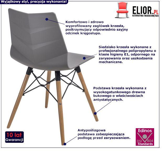 Skandynawskie krzesło Tekto - szare i buk