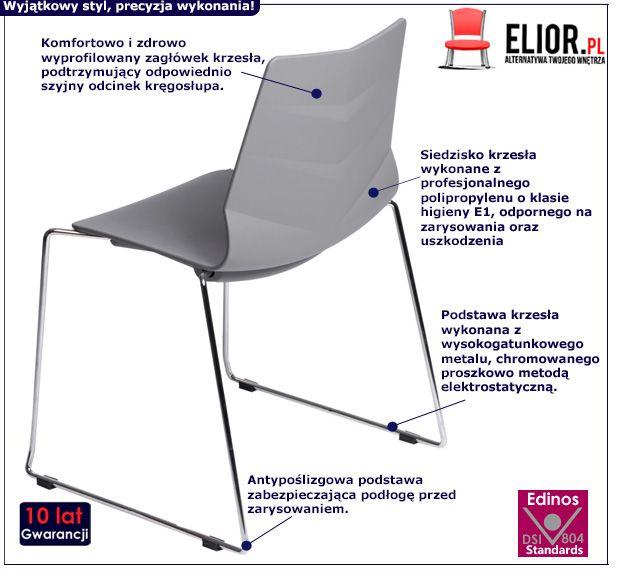 Komfortowe krzesło Tekto 2X - szare