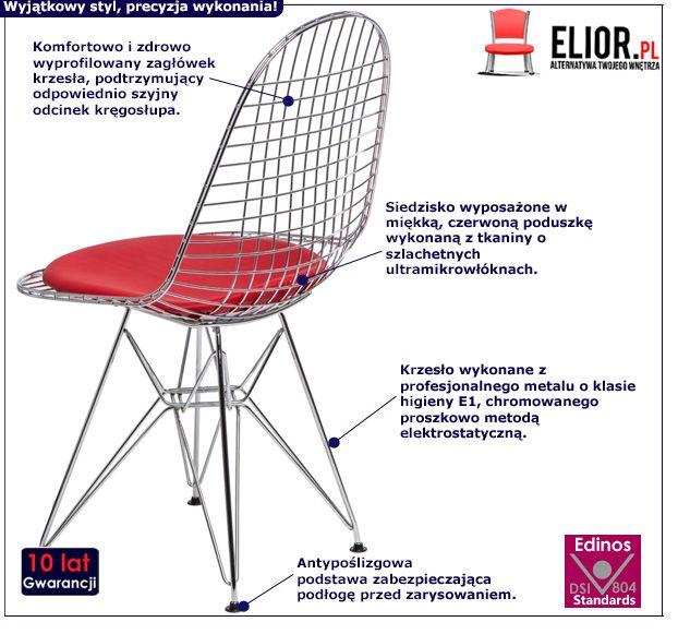 Innowacyjne krzesło Hagio - z czerwoną poduszką