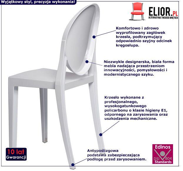 Nowoczesne krzesło Fugio - białe
