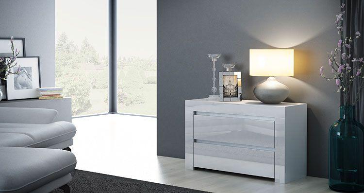 Lakierowana szafka do łóżka, sypialni biały połysk Naria 5X
