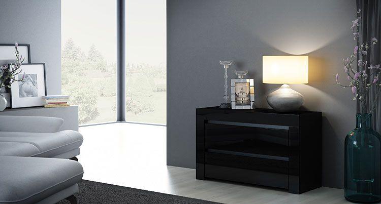 Lakierowana czarna szafka do łóżka z 2 szufladami Naria 5X