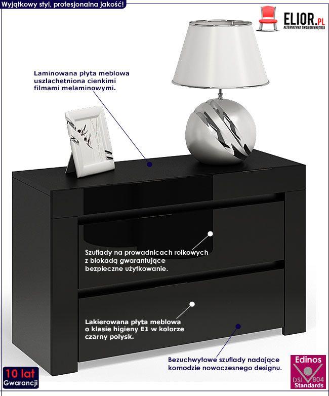 Czarna szafka nocna na wysoki połysk Naria 5X