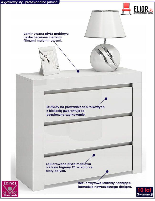 Biała komoda lakierowana z 3 szufladami Lorena 5X