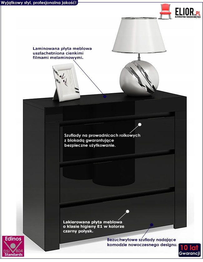 Lakierowana czarna komoda do biura, salonu Lorena 5X