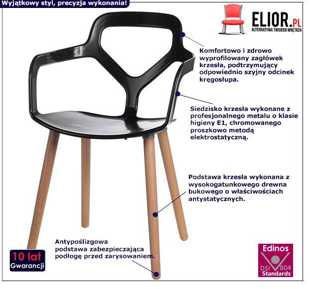 Nowoczesne krzesło Poppo - czarne