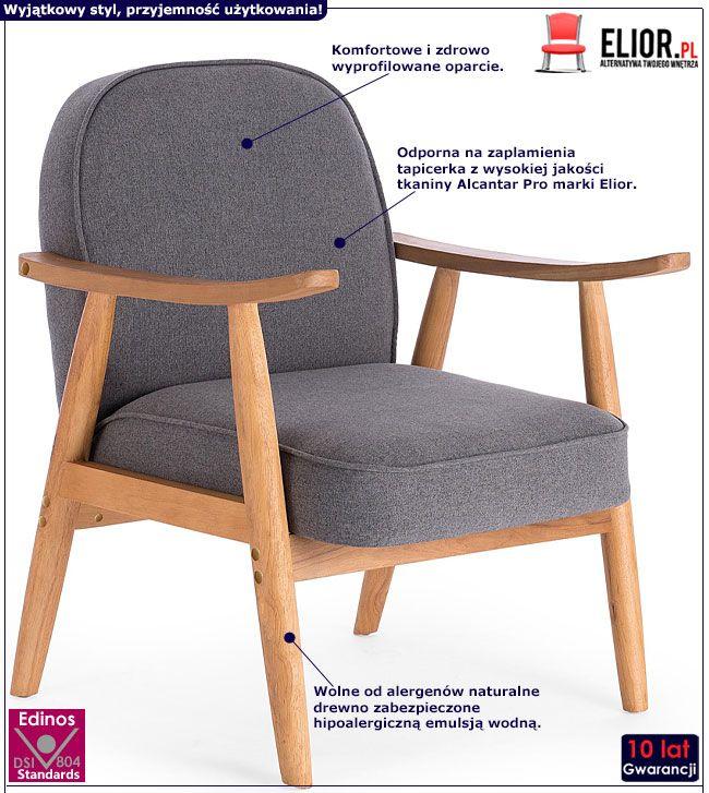 Szary fotel wypoczynkowy w stylu retro Expon
