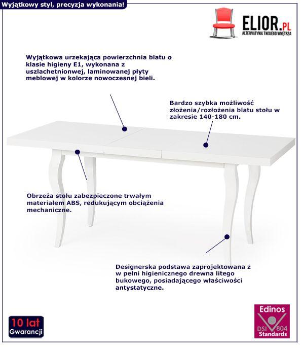 Stylowy stół rozkładany Torres- biały