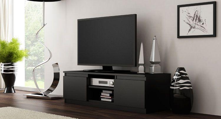 Czarna szafka pod sprzęt RTV, TV Verta 2X