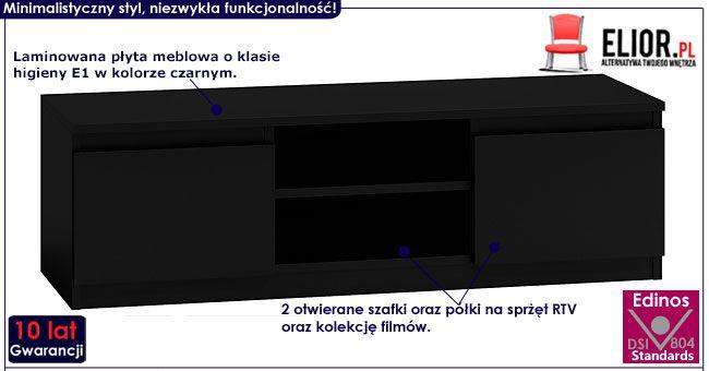 Czarna szafka pod telewizor 120 cm Verta 2X