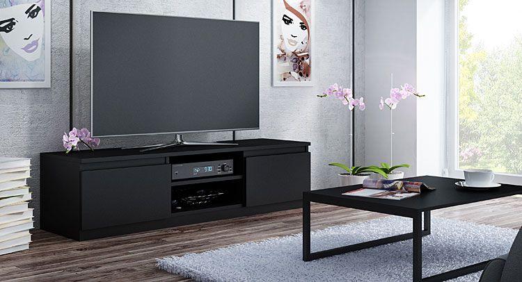 Czarna szeroka szafka RTV 140 cm Verta 3X