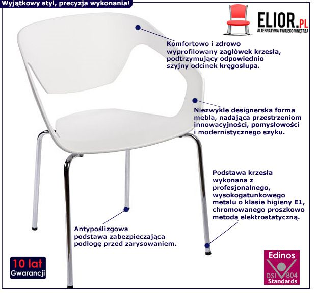 Minimalistyczne krzesło Dakoto - białe