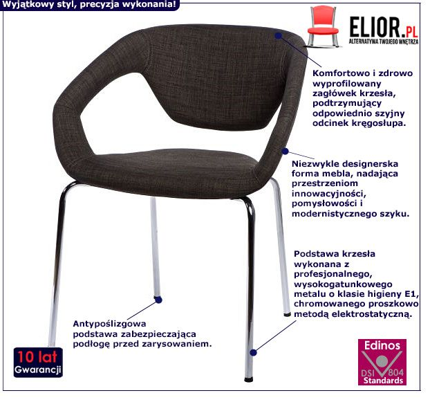 Stylowe krzesło Dakoto 2X - szare